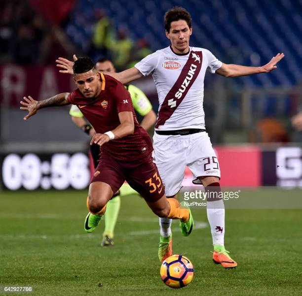 Emerson Palmieri of AS Roma and Sasa Lukic of Torino fight for the ball during the Serie A match between Roma and Torino at Stadio Olimpico Rome...