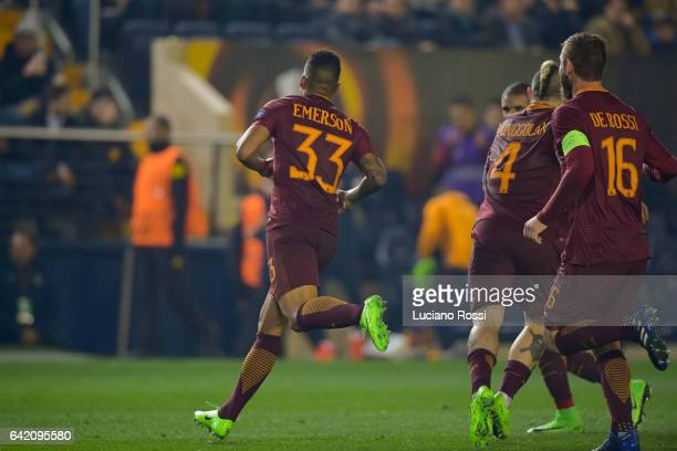Emerson Palmieri of AS Roma celebrates after scoring a goal during the UEFA Europa League Round of 32 first leg match between FC Villarreal and AS...