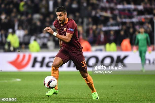 Emerson Palmieri of As Roma during the Uefa Europa League Round of 16 first leg match between Olympique Lyonnais Lyon and As Roma at Stade des...