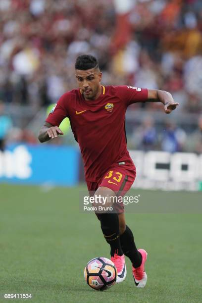 Emerson Palmieri of AS Roma in action during the Serie A match between AS Roma and Genoa CFC at Stadio Olimpico on May 28 2017 in Rome Italy