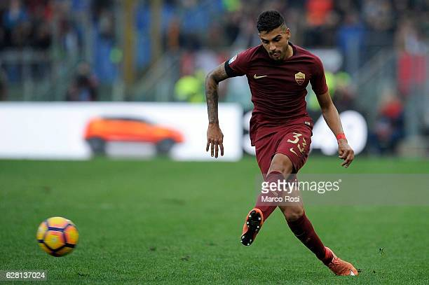 Emerson Palmieri of AS Roma in action during the Serie A match between SS Lazio and AS Roma at Stadio Olimpico on December 4 2016 in Rome Italy