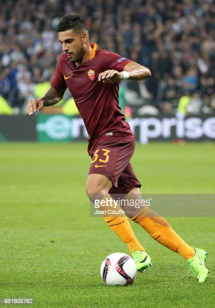 Emerson Palmieri of AS Roma in action during the UEFA Europa League Round of 16 first leg match between Olympique Lyonnais and AS Roma at Parc OL on...