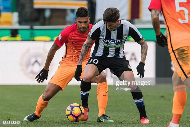 Emerson Palmieri of AS Roma Rodrigo De Paul of Udineseduring the Italian Serie A match between Udinese and AS Roma at Dacia Arena on January 15 2017...