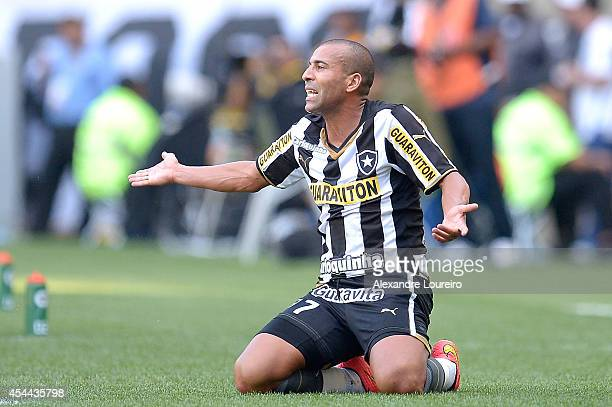 Emerson Sheik of Botafogo yells during the match between Botafogo and Santos as part of Brasileirao Series A 2014 at Maracana stadium on August 31...