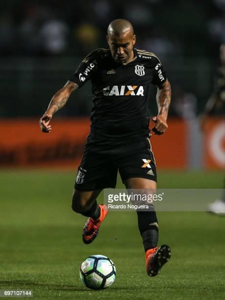 Emerson Sheik of Ponte Preta kicks the ball during the match between Santos and Ponte Preta as a part of Campeonato Brasileiro 2017 at Pacaembu...