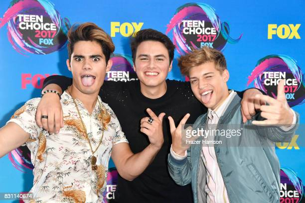 Emery Kelly Liam Attridge and Ricky Garcia of Forever in Your Mind attend the Teen Choice Awards 2017 at Galen Center on August 13 2017 in Los...