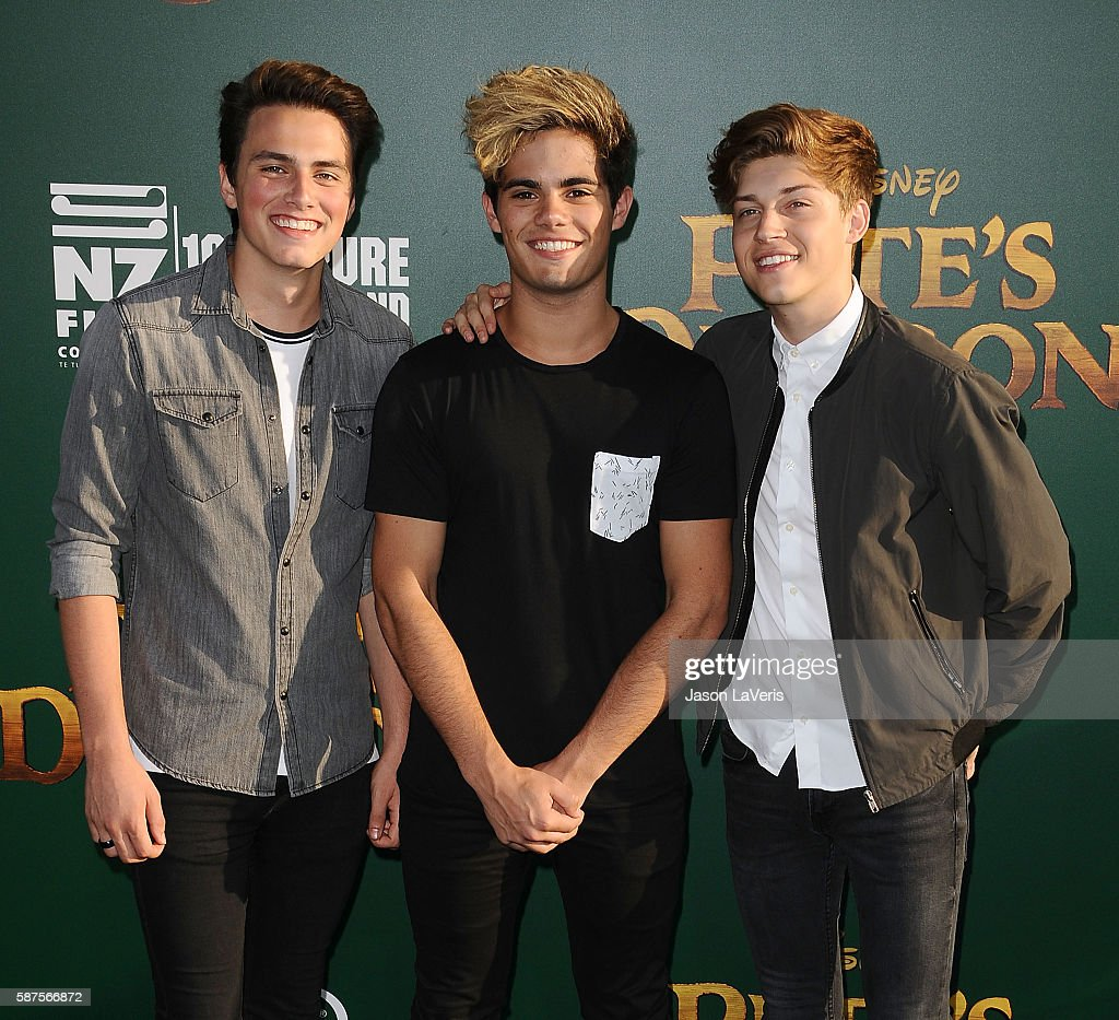 Emery Kelly Ricky Garcia and Liam Attridge of Forever in Your Mind attend the premiere of 'Pete's Dragon' at the El Capitan Theatre on August 8 2016...