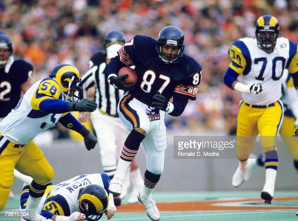 Emery Moorehead of the Chicago Bears carries the ball after catching a pass during the NFC Championship Game against the Los Angeles Rams on January...