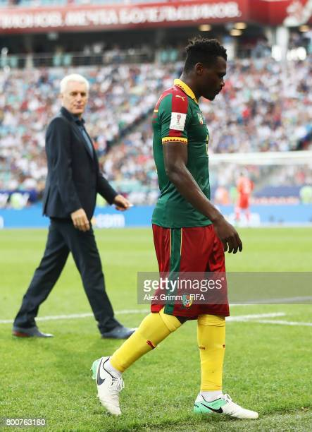 Emest Mabouka of ameroon walks off after being sent off during the FIFA Confederations Cup Russia 2017 Group B match between Germany and Cameroon at...