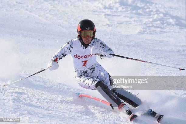 Emi Hasegawa of Japan competes in women's slalom alpine skiing on the day eight of the 2017 Sapporo Asian Winter Games at Sapporo Teine on February...