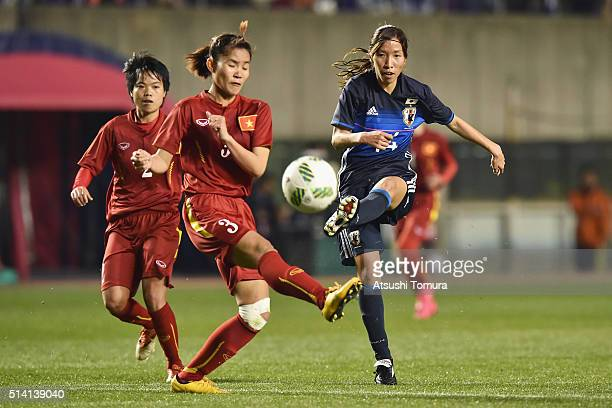 Emi Nakajima of Japan scores her team's fourth goal during the AFC Women's Olympic Final Qualification Round match between Vietnam and Japan at...