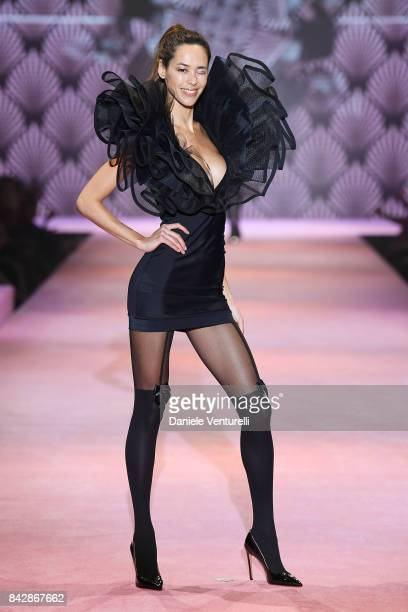 Emi Renata Sakamoto walks the runway during the Calzedonia Legs Show on September 5 2017 in Verona Italy