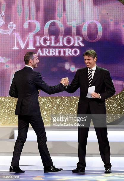 Emidio Morganti and Roberto Rosetti attend the 'Oscar Del Calcio AIC 2010' Italian Football Awards on January 24 2011 in Milan Italy Oscar del Calcio...