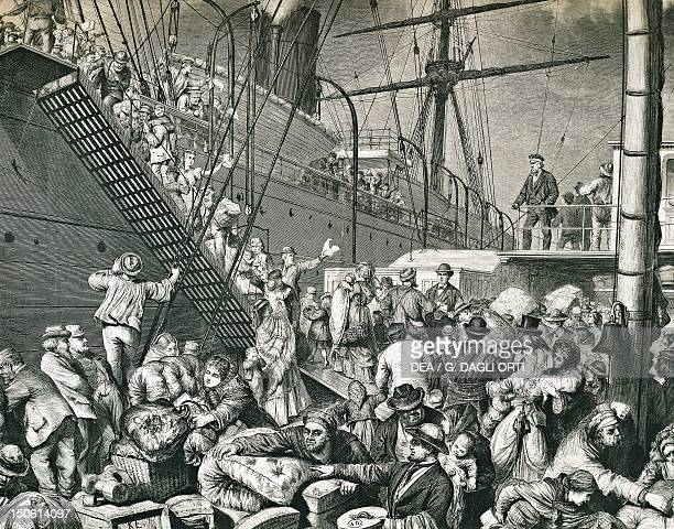 Emigrants to America boarding a ship in the Port of Hamburg in 1874 engraving Germany 19th century