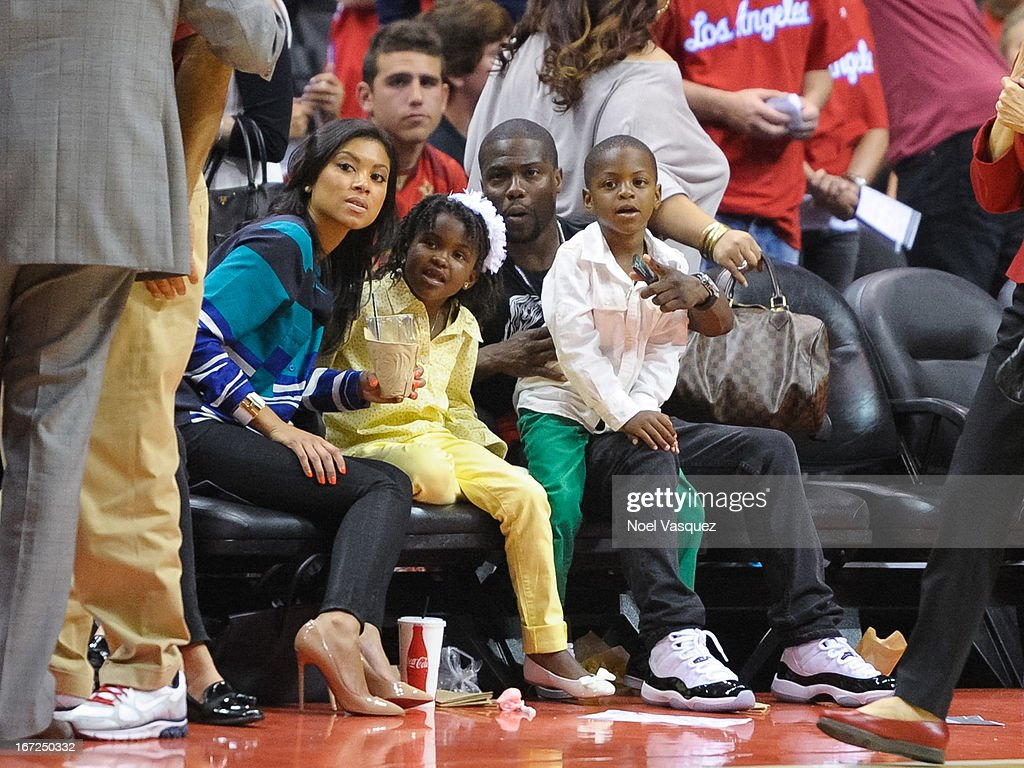 Emiko, Heaven Hart, <a gi-track='captionPersonalityLinkClicked' href=/galleries/search?phrase=Kevin+Hart+-+Actor&family=editorial&specificpeople=4538838 ng-click='$event.stopPropagation()'>Kevin Hart</a> and Hendrix Hart attend a playoff basketball game between the Memphis Grizzlies and the Los Angeles Clippers at Staples Center on April 22, 2013 in Los Angeles, California.