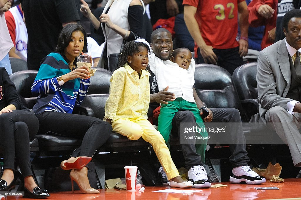 Emiko, Heaven Hart, Kevin Hart and Hendrix Hart attend a playoff basketball game between the Memphis Grizzlies and the Los Angeles Clippers at Staples Center on April 22, 2013 in Los Angeles, California.