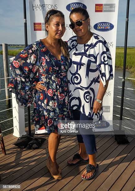 Emiko Maruoka and Mariko Pichardo attend the 'Hamptons Magazine and Mortgage Professionals Enjoy Sunset Cocktails at Dockers ' event at Dockers...