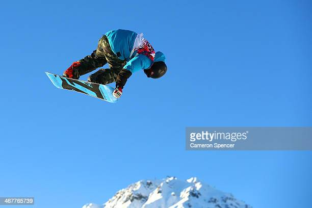 Emil Andre Ulsletten of Norway competes during the Snowboard Men's Slopestyle Semifinals during day 1 of the Sochi 2014 Winter Olympics at Rosa...