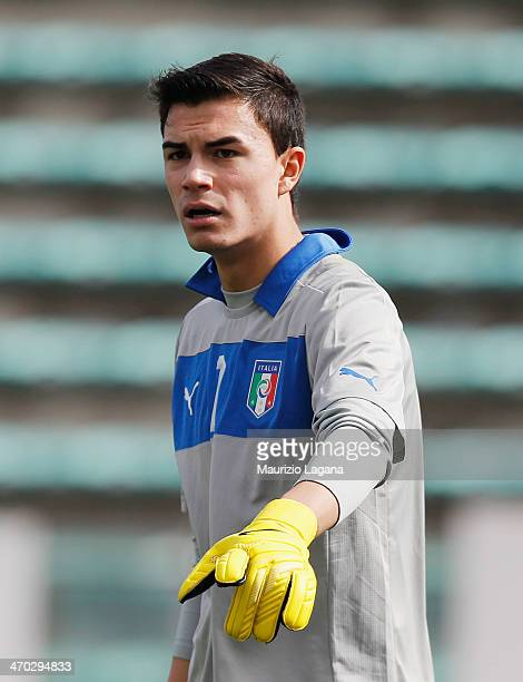Emil Audero of Italy during the international friendly match between Italy U17 and Hungary U17 at Stadio Oreste Granillo on February 19 2014 in...