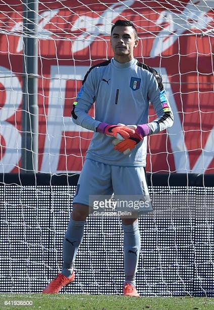 Emil Audero of Italy U20 in action during the friendly match between Italy U20 and B Italia at Stadio Renato Curi on February 14 2017 in Perugia Italy