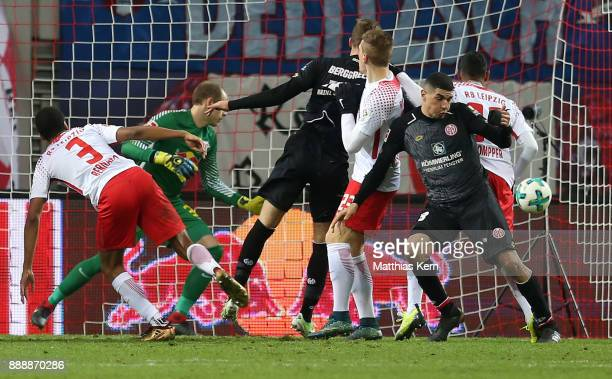Emil Berggreen of Mainz scores the fourth goal during the Bundesliga match between RB Leipzig and 1FSV Mainz 05 at Red Bull Arena on December 9 2017...