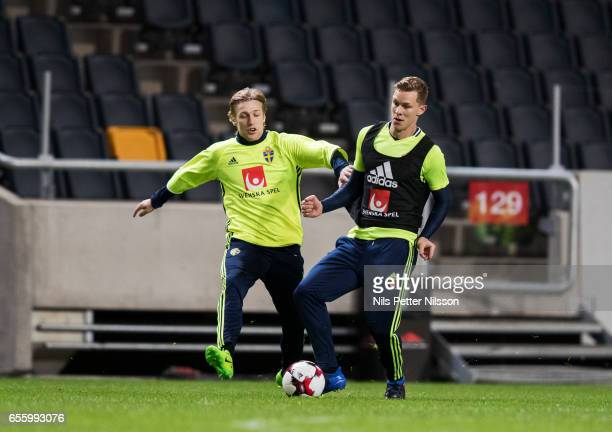 Emil Forsberg and Ludwig Augustinsson of Sweden during Sweden National Team training session at Friends arena on March 21 2017 in Solna Sweden