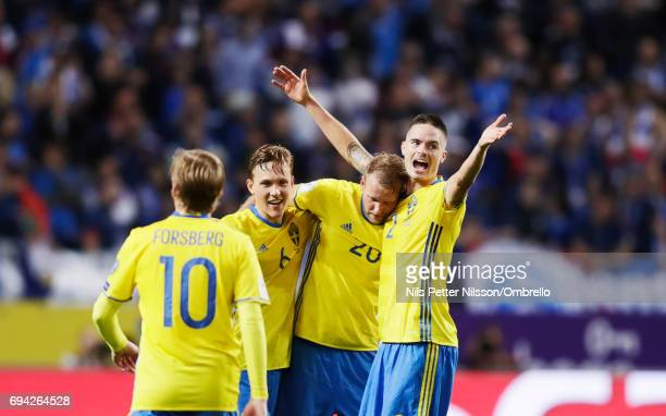 Emil Forsberg Ludwig Augustinsson Ola Toivonen and Mikael Lustig of Sweden celebrates after the victory during the FIFA 2018 World Cup Qualifier...
