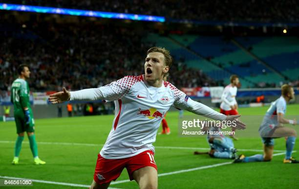 Emil Forsberg of Leipzig celebrates after he scores the opening goal during the UEFA Champions League group G match between RB Leipzig and AS Monaco...