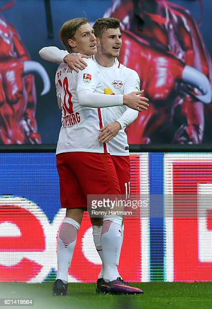 Emil Forsberg of Leipzig celebrates after scoring his team's second goal with Timo Werner of Leipzig during the Bundesliga match between RB Leipzig...