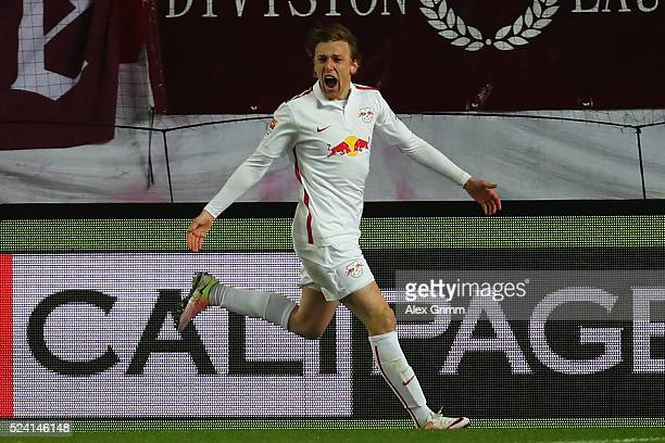 Emil Forsberg of Leipzig celebrates his team's first goal during the Second Bundesliga match between 1 FC Kaiserslautern and RB Leipzig at...