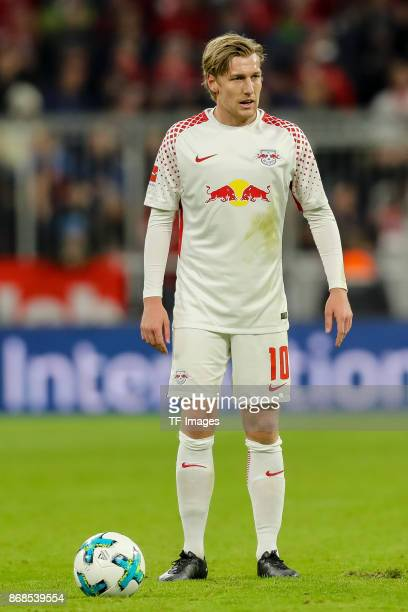 Emil Forsberg of Leipzig controls the ball during the Bundesliga match between FC Bayern Muenchen and RB Leipzig at Allianz Arena on October 28 2017...