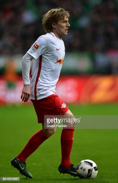 Emil Forsberg of Leipzig in action during the Bundesliga match between Werder Bremen and RB Leipzig at Weserstadion on March 18 2017 in Bremen Germany