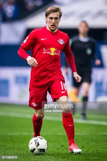Emil Forsberg of Leipzig in action during the Bundesliga match between FC Schalke 04 and RB Leipzig at VeltinsArena on April 23 2017 in Gelsenkirchen...