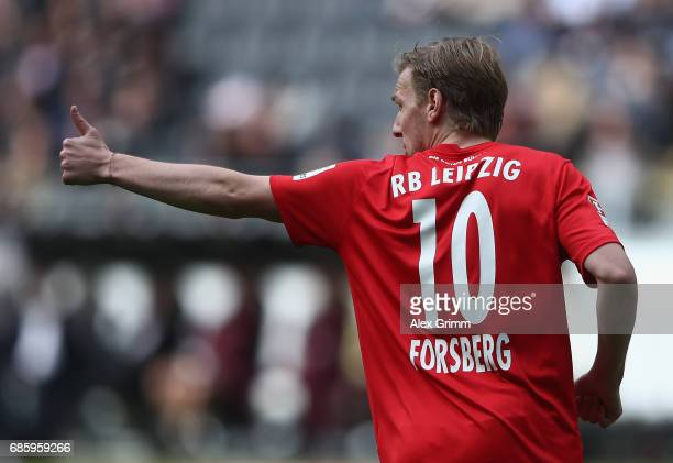 Emil Forsberg of Leipzig reacts during the Bundesliga match between Eintracht Frankfurt and RB Leipzig at CommerzbankArena on May 20 2017 in...