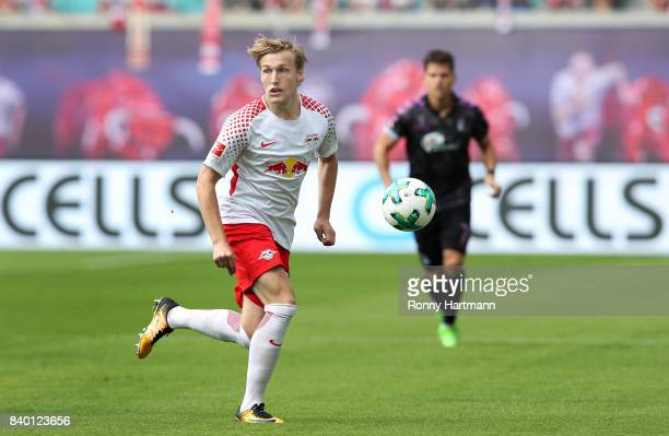 Emil Forsberg of Leipzig runs with the ball during the Bundesliga match between RB Leipzig and SportClub Freiburg at Red Bull Arena on August 27 2017...
