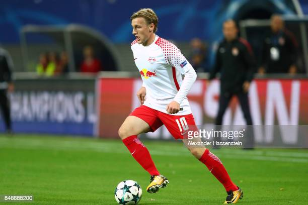 Emil Forsberg of Leipzig runs with the ball during the UEFA Champions League group G match between RB Leipzig and AS Monaco at Red Bull Arena on...