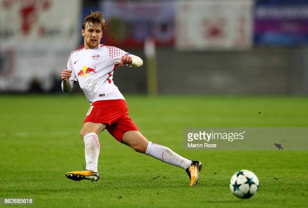 Emil Forsberg of Leipzig runs with the ball during the UEFA Champions League group G match between RB Leipzig and FC Porto at Red Bull Arena on...