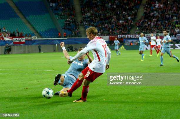 Emil Forsberg of Leipzig scores the opening goal during the UEFA Champions League group G match between RB Leipzig and AS Monaco at Red Bull Arena on...