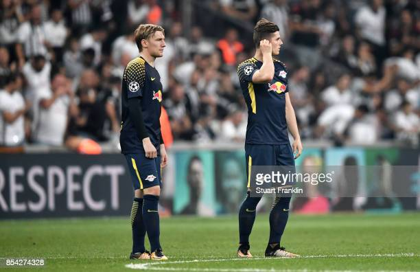 Emil Forsberg of RB Leipzig and Marcel Sabitzer of RB Leipzig looks on during the UEFA Champions League Group G match between Besiktas and RB Leipzig...