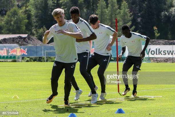 Emil Forsberg of RB Leipzig Bernardo of RB Leipzig Oliver Burke of RB Leipzig Bruma of RB Leipzig controls the ball during the Training Camp of RB...