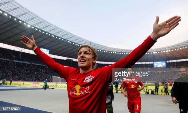 Emil Forsberg of RB Leipzig celebrates during the Bundesliga match between Hertha BSC and RB Leipzig at Olympiastadion on May 6 2017 in Berlin Germany