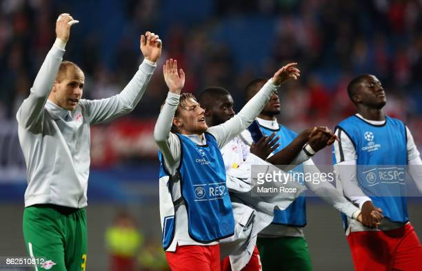 Emil Forsberg of RB Leipzig celebrates with his team after the UEFA Champions League group G match between RB Leipzig and FC Porto at Red Bull Arena...