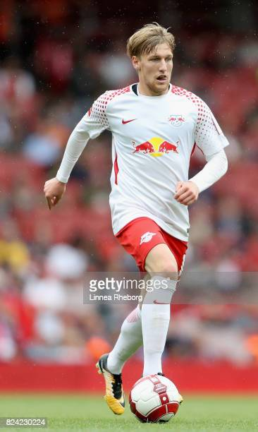 Emil Forsberg of RB Leipzig during the preseason friendly match between RB Leipzig v Sevilla FC during the Emirates Cup at Emirates Stadium on July...
