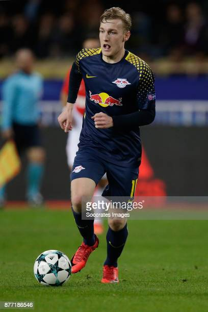 Emil Forsberg of RB Leipzig during the UEFA Champions League match between AS Monaco v RB Leipzig at the Stade Louis II on November 21 2017 in Monaco...