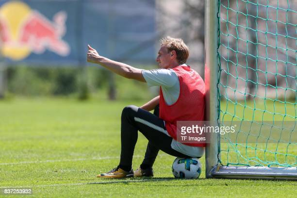 Emil Forsberg of RB Leipzig gestures during the Training Camp of RB Leipzig on July 21 2017 in Seefeld Austria