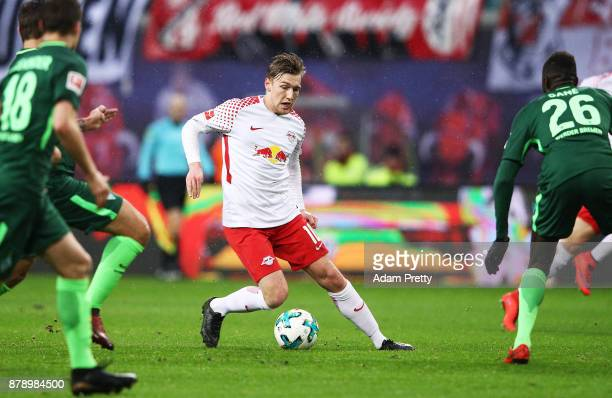 Emil Forsberg of RB Leipzig in action during the Bundesliga match between RB Leipzig and SV Werder Bremen at Red Bull Arena on November 25 2017 in...