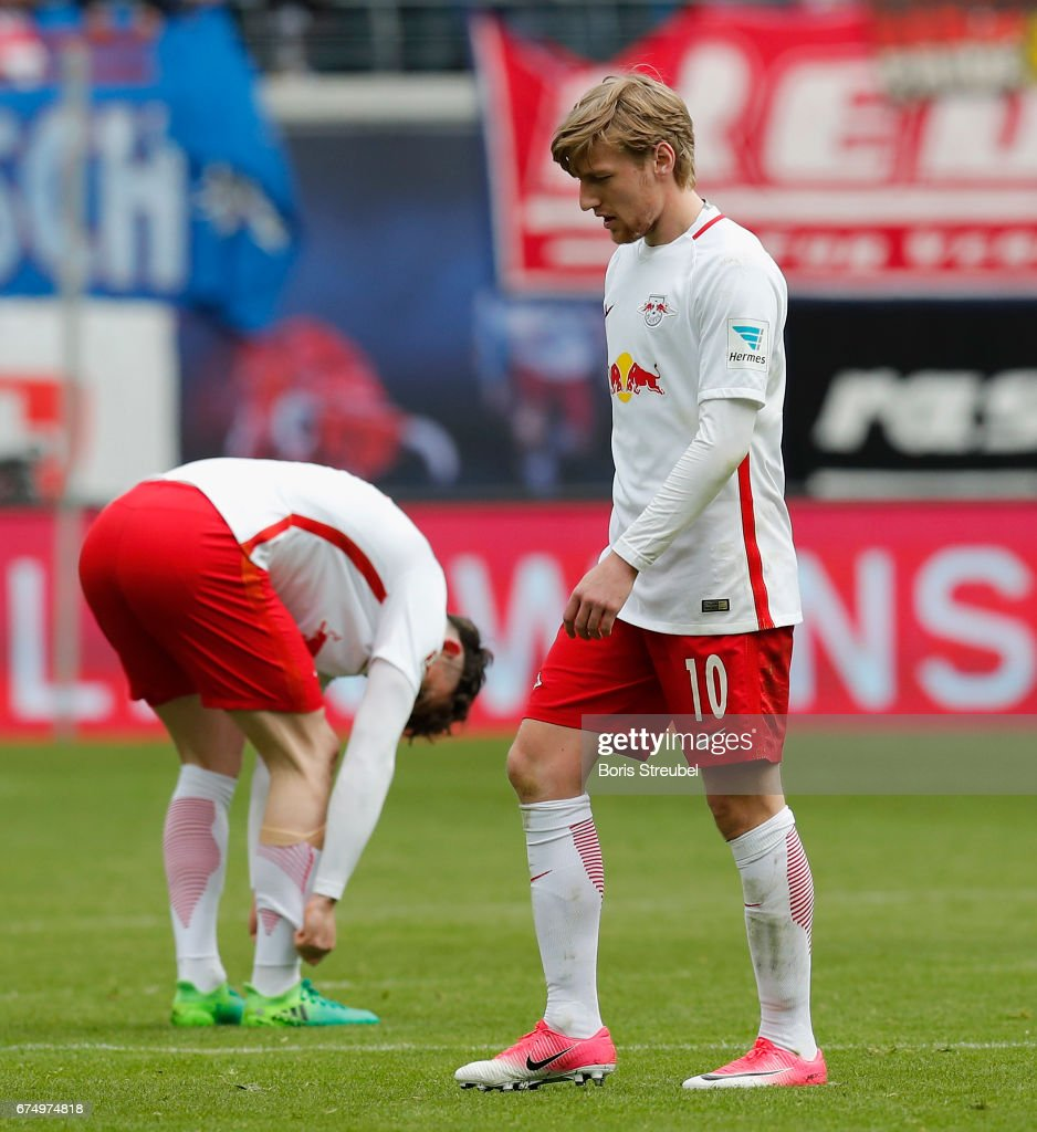 Emil Forsberg of RB Leipzig looks dejected after the Bundesliga match between RB Leipzig and FC Ingolstadt 04 at Red Bull Arena on April 29, 2017 in Leipzig, Germany.