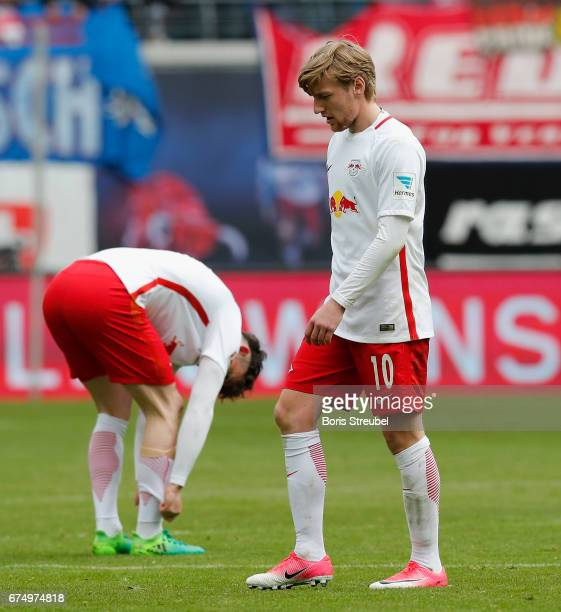 Emil Forsberg of RB Leipzig looks dejected after the Bundesliga match between RB Leipzig and FC Ingolstadt 04 at Red Bull Arena on April 29 2017 in...