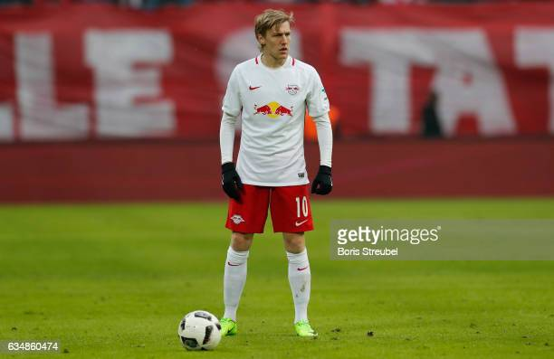 Emil Forsberg of RB Leipzig looks on during the Bundesliga match between RB Leipzig and Hamburger SV at Red Bull Arena on February 11 2017 in Leipzig...