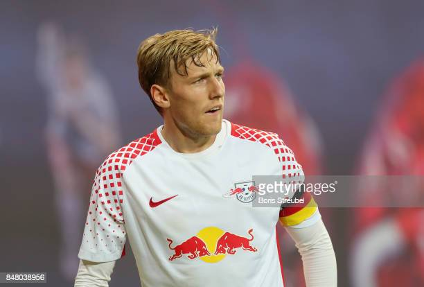 Emil Forsberg of RB Leipzig looks on during the Bundesliga match between RB Leipzig and Borussia Moenchengladbach at Red Bull Arena on September 16...